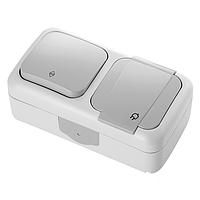 Блок горизонтальный Розетка с заземлением + Выключатель проходной белый, серый Viko Palmiye