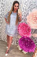 Красивое женское платье с гипюром