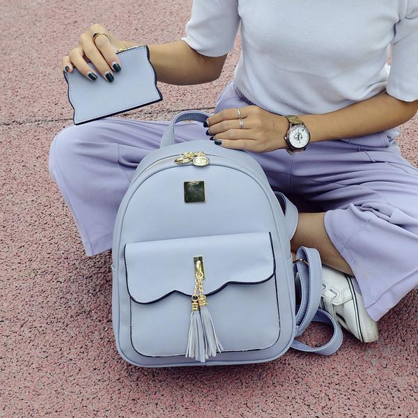 Рюкзак городской женский серый с кошельком в комплекте