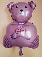 """Фольгированный шар на выписку девочки из роддома """"Медвежонок"""" 65 см × 43 см"""