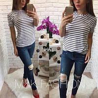 Женская стильная полосатая футболка (2 цвета), фото 1