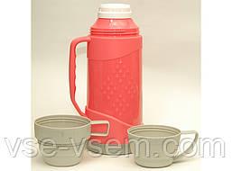 Термос (стекло), объем 1000 мл., 2 чашки.