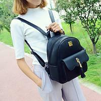 Городской женский рюкзак черный с кошельком в комплекте