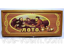 I4-6 Набір лото в дерев'яній коробці з дерев'яними барильцями.