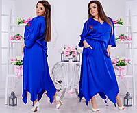 Шелковый стильный костюмчик: однотонная юбка и блуза на пуговицах.