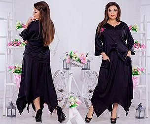 Шелковый стильный костюмчик: однотонная юбка и блуза на пуговицах., фото 2