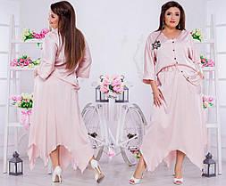 Шелковый стильный костюмчик: однотонная юбка и блуза на пуговицах., фото 3