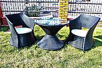 Комплект садовой мебели из ротанга (стол, 2 кресла)