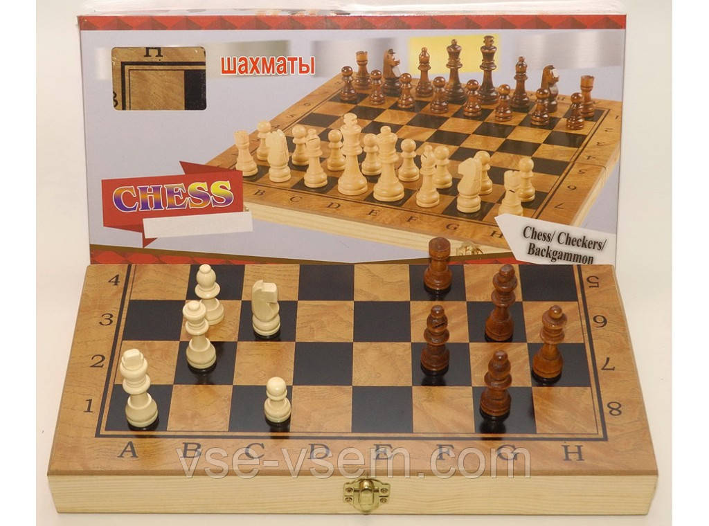 I5-52 Шахматы 3 в 1 (шахматы, шашки, нарды), дерево 39,5 Х 39,5 см.
