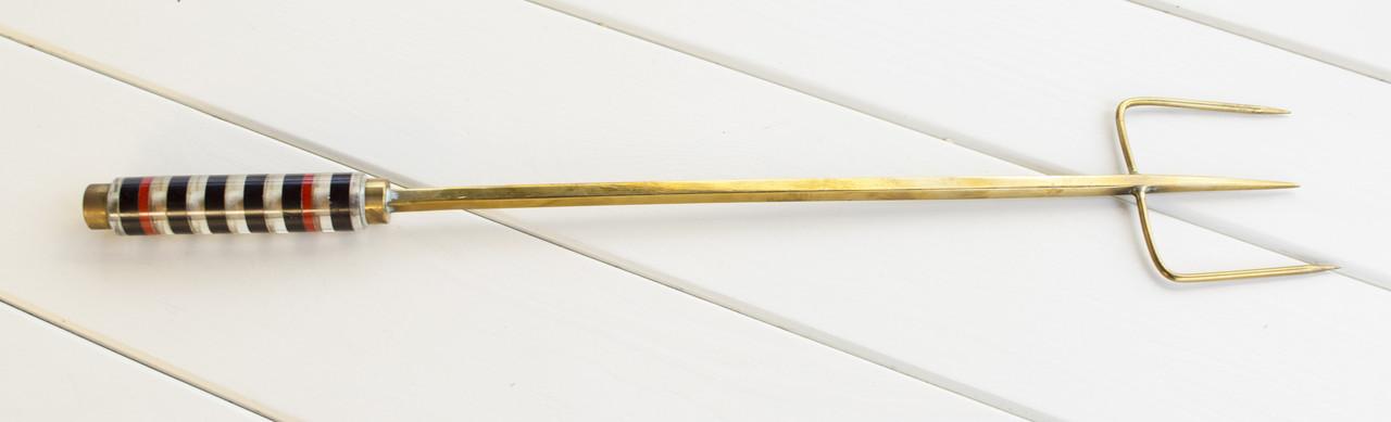 Старая каминная вилка, тризуб, ручная работа, бронза, Англия