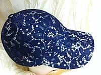 Женская синяя гипюровая  бейсболка с  камнями размер 55-58