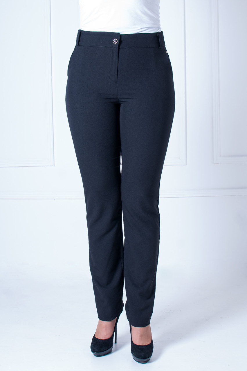 Женские офисные брюки с зауженными штанинами Галла черная