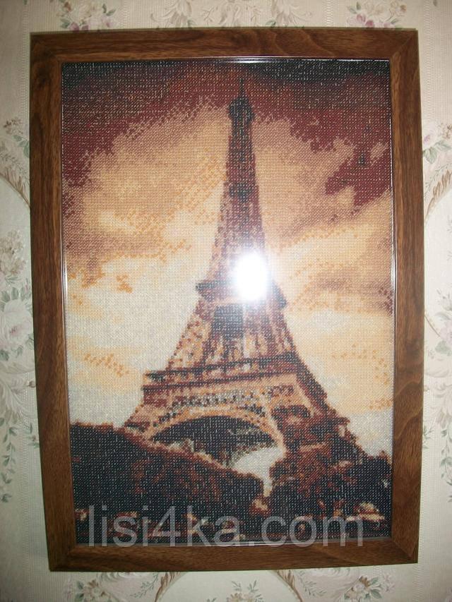 вышитая картина для интерьера с эйвелевой башней