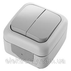Выключатель двухклавишный влагозащищенный серый Viko Palmiye