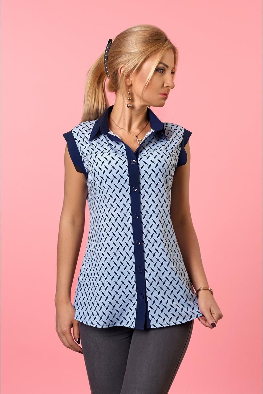 Стильная женская блуза  без рукавов голубого  цвета