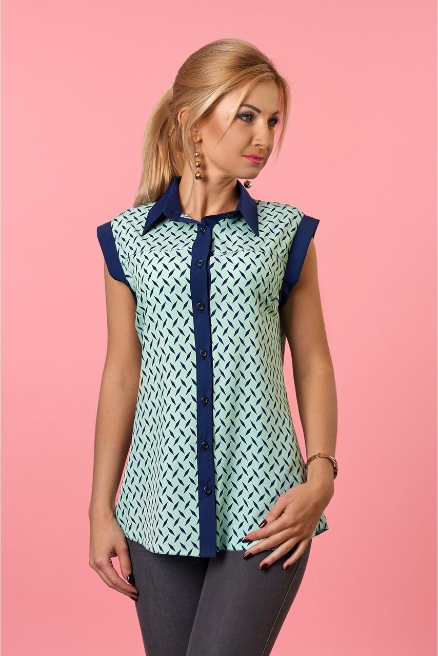 Стильная женская блуза  без рукавов мятного   цвета