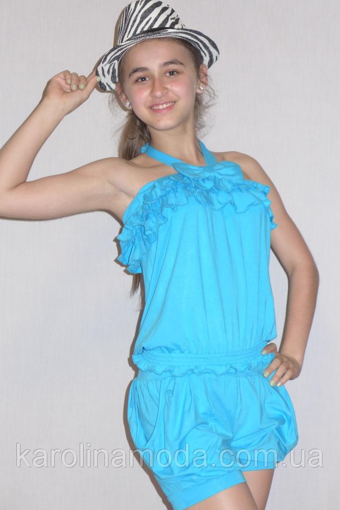 """Костюм для девочки """"Бантик"""" голубой . Детская одежда оптом."""