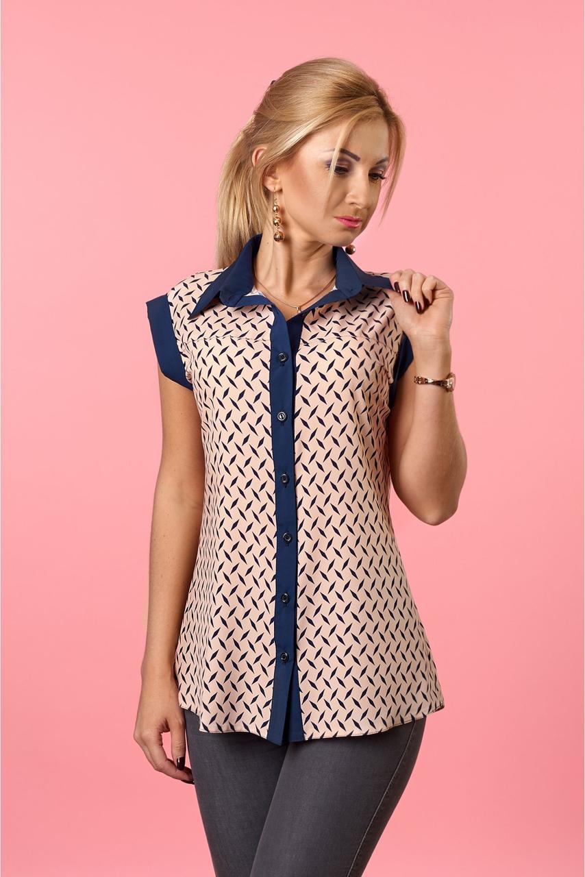 Стильная женская блуза  без рукавов пудрового   цвета