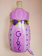"""Фольгированный воздушный шарик Бутылочка с соской """"It`s a girl"""" розовая 80 см х 45 см"""