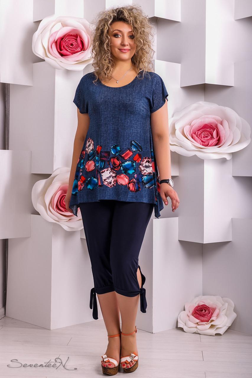 Летняя туника батал 2279 синий (50-56) - FaShop Женская одежда от  производителя 664dff28d04