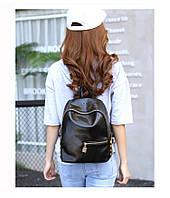 Женский рюкзак черный из кожзама
