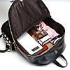 Женский рюкзак черный из кожзама, фото 4