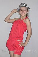"""Костюм для девочки (комбинизон шорты и футболка) """"Бантик"""" красный. Детская одежда оптом."""