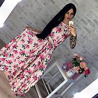 Шелковое платье макси в цветах 421 Марго