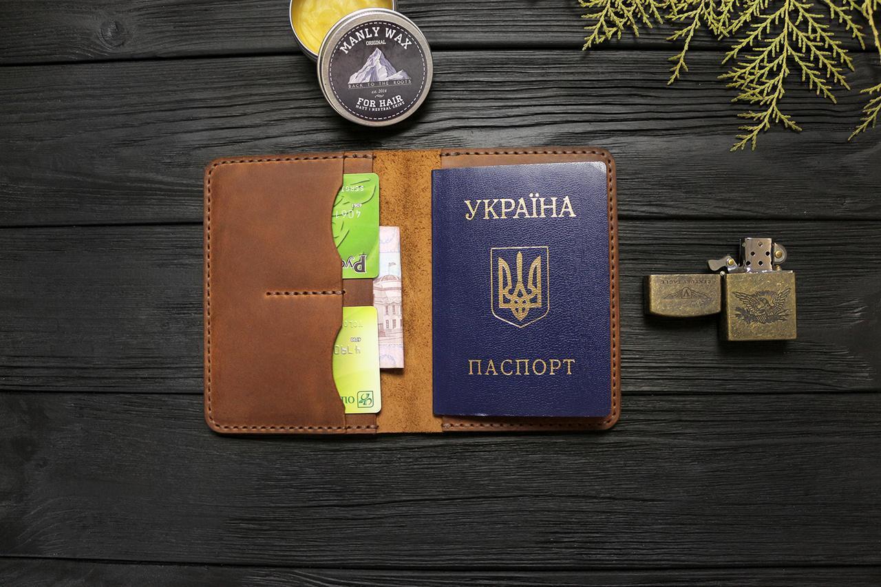 Мужской кошелёк обложка ручной работы VOILE vl-cvw1-lbrn-brn