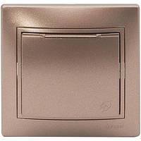 Розетка с заземлением с крышкой Lezard  MIRA светло-коричневый перламутр 701-3131-123В