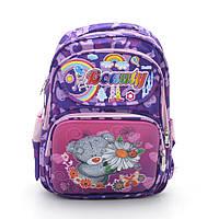 Детский школьный рюкзак-портфель МИШКА(фиолетовый)  уплотненная спинка(,,Качество,оптом и в розницу