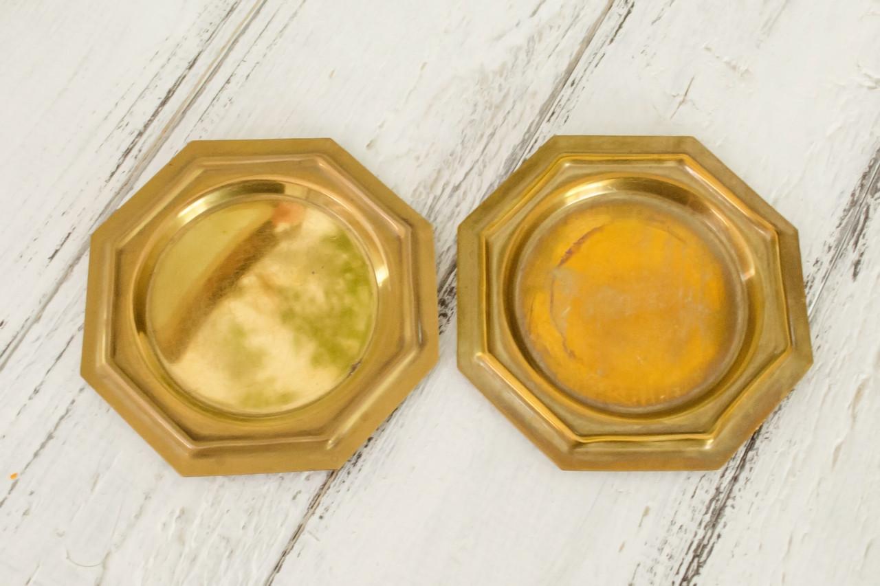 Два бронзовых блюдца, подставки, бронза, винтаж, Германия