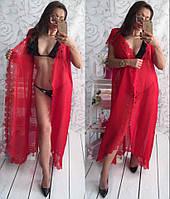 Женская пляжная туника мультик шифон перфорация красная, фото 1