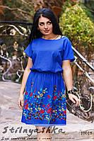 Льняное большое платье с вышивкой индиго