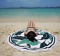 Пляжное круглое полотенце / подстилка Летние листья 165 см / полотенце на пляж / пляжный коврик махра