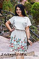 Льняное большое платье с вышивкой молоко