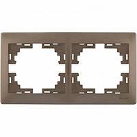 Рамка 2-ая горизонтальная б/вст Lezard  MIRA, светло-коричневый перламутр 701-3100-147