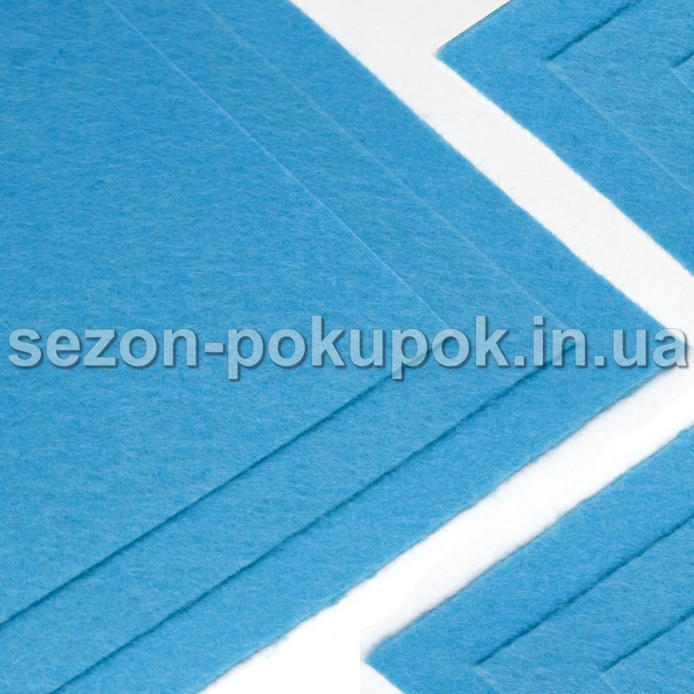 Фетр жесткий 1мм 20 х 25 см  Цена за 1 лист. Цвет - голубой