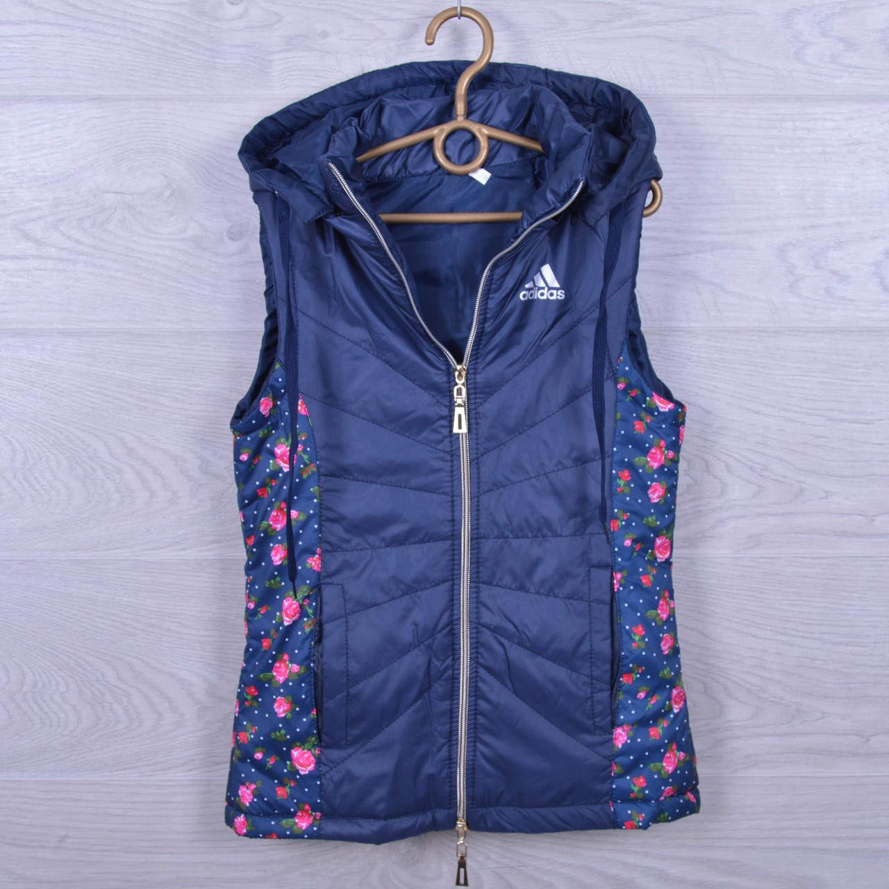 """Подростковая демисезонная жилетка """"Adidas реплика"""" для девочек. 10-15 лет. Темно-синяя. Оптом."""