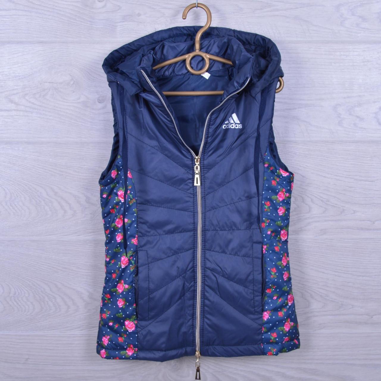 """Подростковая демисезонная жилетка """"Adidas реплика"""" для девочек. 10-15 лет. Темно-синяя. Оптом., фото 1"""