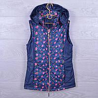 """Подростковая демисезонная жилетка """"Rose"""" для девочек. 10-15 лет. Темно-синяя. Оптом., фото 1"""