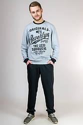 Спортивный костюм мужской больших размеров трикотажный светло серый черный с капюшоном Турция