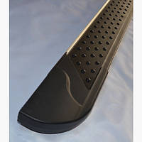 Пороги боковые площадкой Allmond Black Fiat Doblo II 2005+ (2шт)