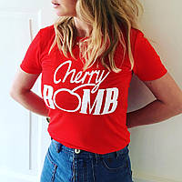 Футболка женская модная CHERRY BOMBреплика GUCCI