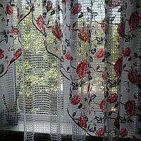 Занавески на кухню красно - черная роза, фото 1