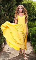 Длинный сарафан из штапеля желтый