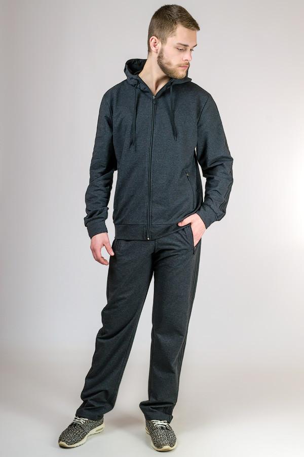 Спортивный костюм мужской трикотажный с капюшоном темно серый Турция