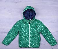 """Куртка детская демисезонная """"Звезды"""". 4-8 лет. Зеленая. Оптом."""