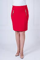 Летняя юбка из костюмной ткани Эльза красного цвета