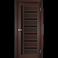 Дверь межкомнатная VALENTINO DELUXE орех черное стекло